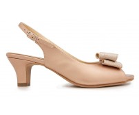 Aurora  Rose Gold Metallic PU Bow Wedding Shoes