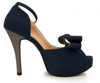 z(Sold out, custom made is available)Brianna Navy Blue Silk Contrast Dinner Shoes (Ready Stock)