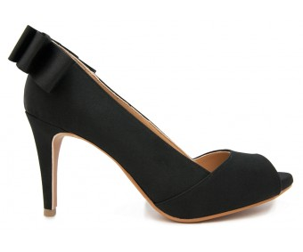 Nicole Black Silk Bow Dinner Shoes (Ready Stock)