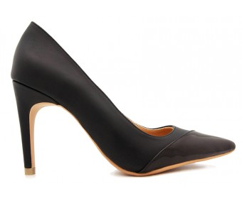 Regine Black PU With Black Patent Contrast Shoes