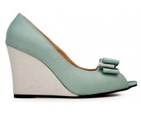 Karena Baby Blue Satin With Bow Wedges