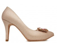 Ariella Rose Gold Glitter With Buckle Wedding Shoes