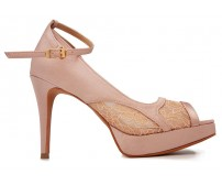 Alyssa Nude Pink Satin With Lace Wedding Shoes(Ready Stock)