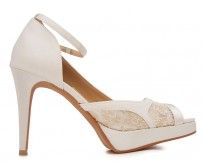 Alyssa Ivory White Satin With Lace Wedding Shoes(Ready Stock)