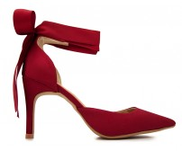 Linsay Wine Red Silk Bow Tie Dinner Shoes (Ready Stock)