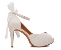 * Audrey Ivory White Satin With Diamante Wedding Shoes (Ready Stock)