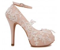 * Elsa Beige Satin With White Lace Wedding Shoes (Ready Stock)