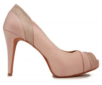 Miah Nude Pink Satin Contrast Wedding Shoes(Ready Stock)