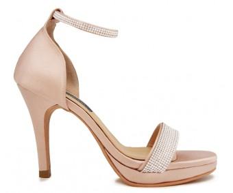 Flavia Nude Pink Satin With Diamante Wedding Sandals