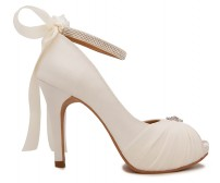 Audrey Ivory White Satin Chiffon Buckle Wedding Shoes