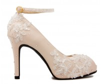 * Kate Light Beige Silk Diamante Swarovski Rhinestone Wedding Shoes