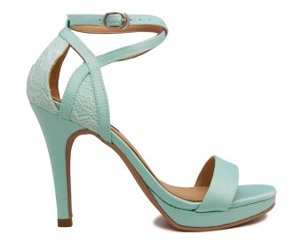 Abia Tiffany and White Lace Wedding Sandals