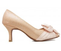 Jemma Champagne Glitter With Satin Bow Wedding Shoes