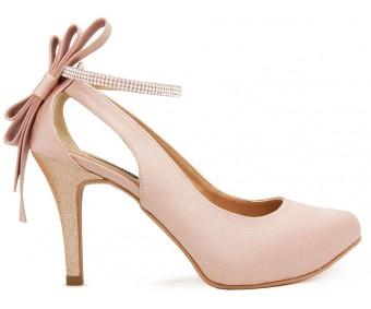 Ellen Nude Pink Satin Back Bow Wedding Shoes