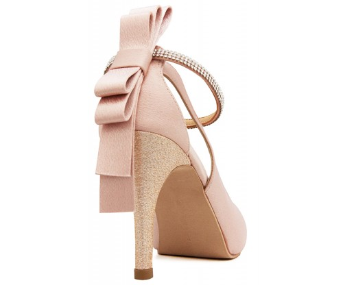 bed84003c37 Bea Bow Pointed Sling Back Bridal Shoes Source · Ellen Nude Pink Satin Back  Bow Wedding Shoes