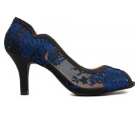 Eileen Navy Blue Lace With Black Glitter Dinner Shoes