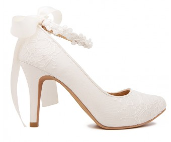 Carin Ivory White Satin Lace With Lace Ribbon Strap Wedding Shoes