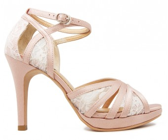 Lorelei  White Lace And Nude Pink Satin Wedding Shoes