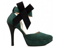 Ella Green Suede With Bow Contrast Dinner Shoes