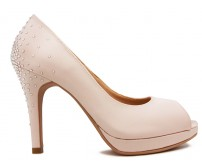 Florence Light Beige Satin Swarovski Rhinestone Wedding Shoes