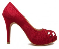Anisa Wine Red Silk With Lace Dinner Shoes