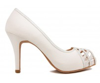 Anisa Ivory White Satin Wedding Shoes