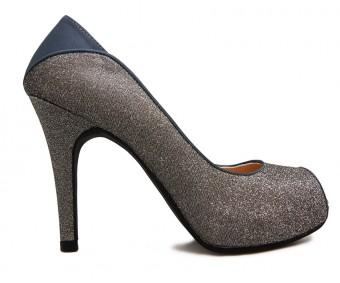 Violette Gun Metal Glitter Dinner Shoes (Ready Stock)