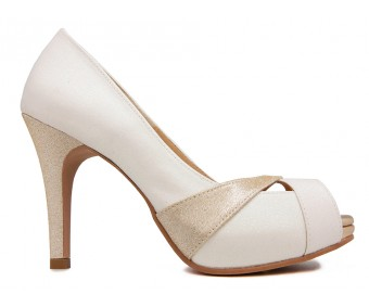 Abigail White Glitter Wedding Shoes