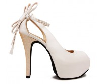 Ellen Ivory White Satin Back Bow Wedding Shoes