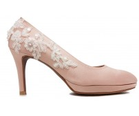 Valencia Nude Pink Satin With White Lace Wedding Shoes