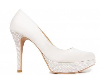 Vivienne Ivory White Satin Swarovski Rhinestone Wedding Shoes