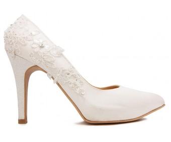 Valencia Ivory White Satin With White Lace Wedding Shoes
