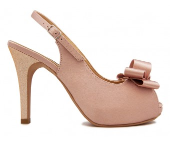 Daria Nude Pink Satin Bow Wedding Shoes