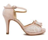 Janelle White Lace And Light Beige Satin Wedding Sandals