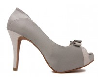 Colette Grey Satin Contrast Wedding Shoes