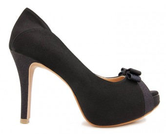 Colette Black Satin Contrast Dinner Shoes (Ready Stock)