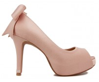 z(Sold out, custom made is available)Eliza Bow Nude Pink Satin With Swarovski Wedding Shoes (Ready Stock)