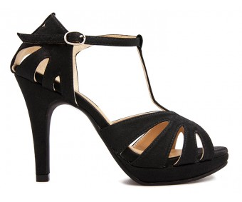 Lavana Black Satin Dinner Sandals
