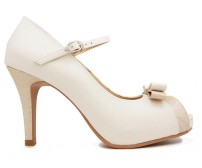 Camila White Glitter Wedding Shoes