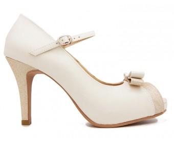 Camila White Glitter Wedding Shoes
