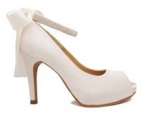 Danielle Ivory White Satin Wedding Shoes(Ready Stock)