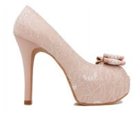 Elsie Nude Pink Satin With White Lace Wedding Shoes