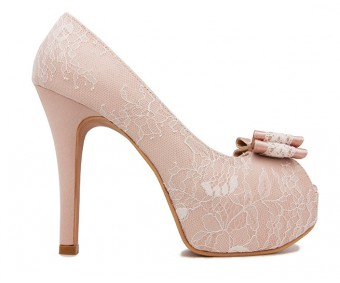 Cece Nude Pink Satin With White Lace Wedding Shoes