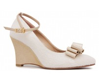 Feeling Ivory White Satin Wedges