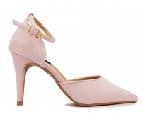 Georgia Pink Satin With Lace Wedding Shoes(Ready Stock)