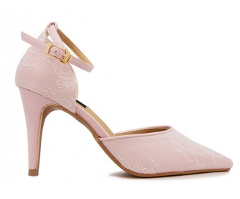 z(Sold out, custom made is available)Georgia Pink Satin With Lace Wedding Shoes(Ready Stock)