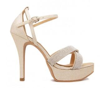 Rosalie Gold Glitter With Diamante Sandals