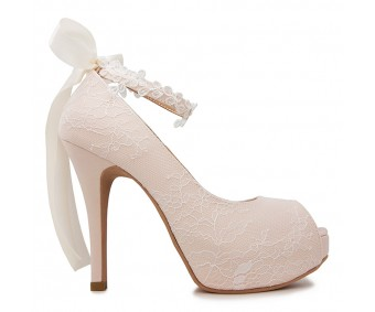 * Carin Light Beige Satin With Lace Wedding Shoes(Ready Stock)