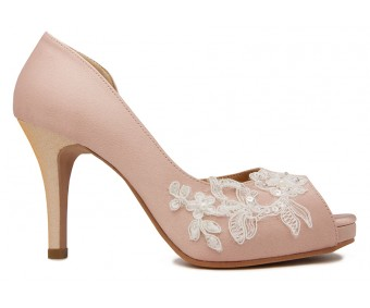 Jean Nude Pink Satin With Lace Wedding Shoes