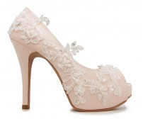 * Elsa Light Beige Satin Lace Wedding Shoes